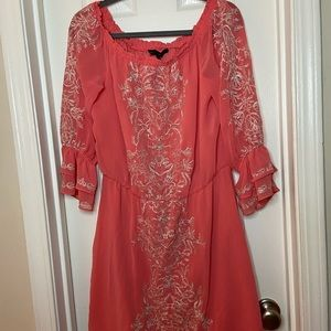 White House Black Market Coral and Gold Lace Dress